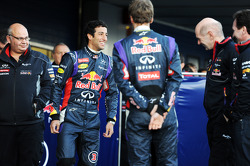 (L to R): Daniel Ricciardo, Red Bull Racing with Sebastian Vettel, Red Bull Racing, Adrian Newey, Red Bull Racing Chief Technical Officer and Christian Horner, Red Bull Racing Team Principal at the unveiling of the Red Bull Racing RB10