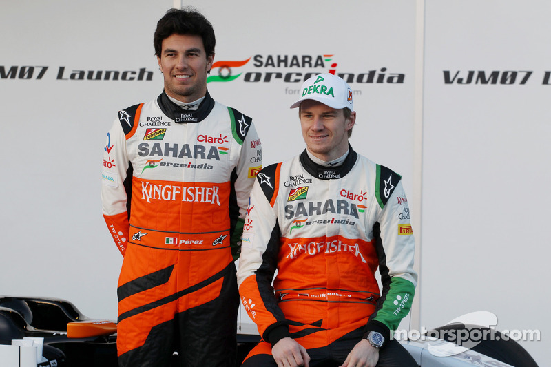 (L to R): Sergio Perez, Sahara Force India F1 and Nico Hulkenberg, Sahara Force India F1 at the launch of the new Sahara Force India F1 VJM07