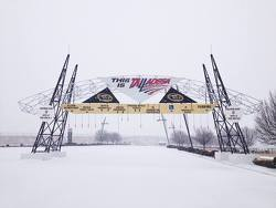 Talladega Superspeedway under snow