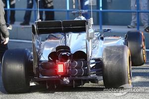 Jenson Button, McLaren MP4-29 rear suspension blockers detail