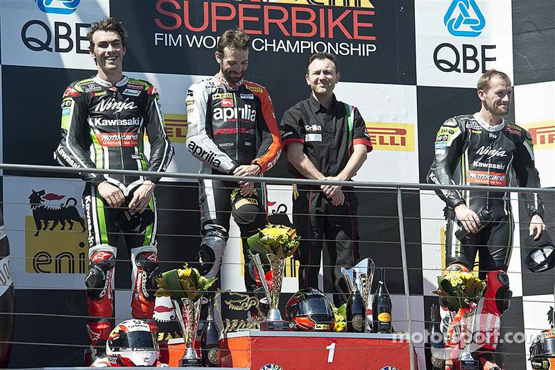 Race 2 podium: race winner Sylvain Guintoli, second place Loris Baz, third place Tom Sykes
