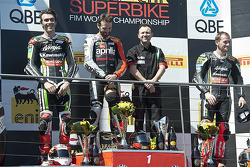 Race 2 podium: race winner Sylvain Guintoli, second place Loris Baz, third place Tom Sykes