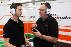 (L to R): Oliver Knighton, Sahara Force India F1 Team Race Support Engineer with Tom McCulloch, Sahara Force India F1 Team Chief Engineer