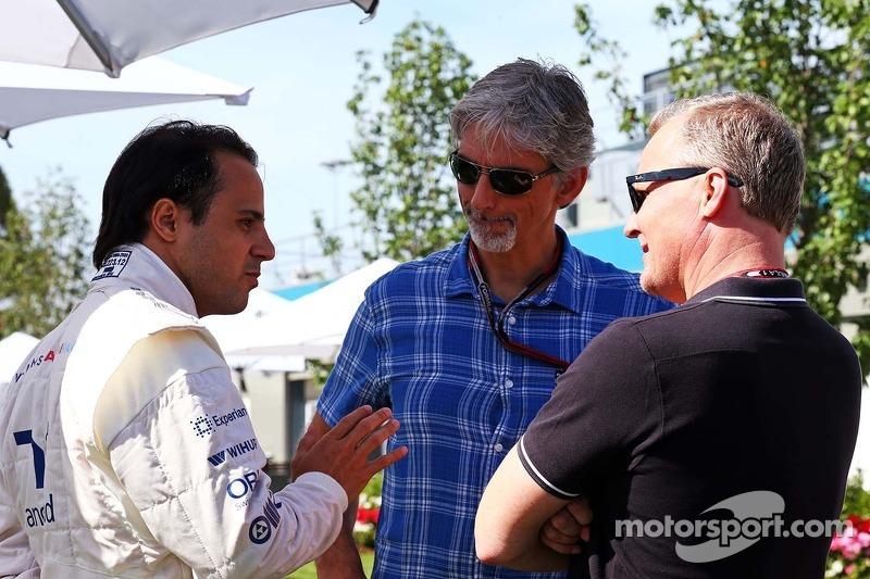 Felipe Massa, Williams ve Damon Hill, Sky Sports Sunucusu ve Johnny Herbert, Sky Sports Sunucusu