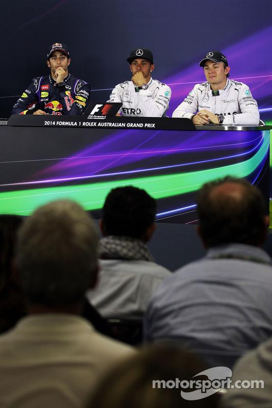 La conferenza stampa FIA, Daniel Ricciardo, Red Bull Racing; Lewis Hamilton, Mercedes AMG F1; Nico R