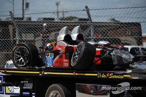 The crashed #38 Performance Tech Motorsports ORECA FLM09 Chevrolet: Charlie Shears, Raphael Matos, David Ostella