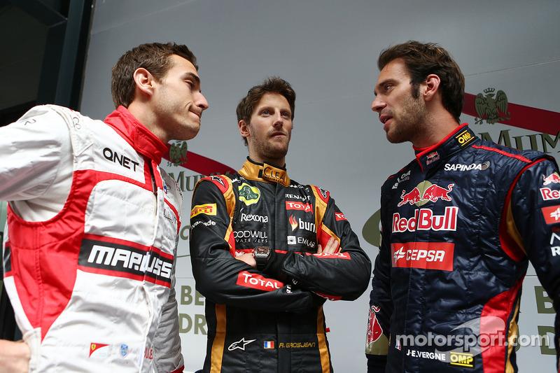 (L to R): Jules Bianchi, Marussia F1 Team with Romain Grosjean, Lotus F1 Team and Jean-Eric Vergne, Scuderia Toro Rosso