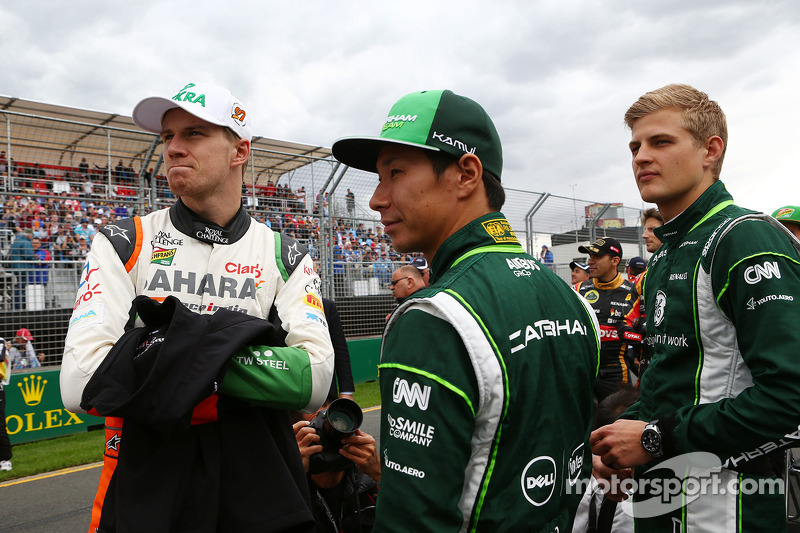 (L to R): Nico Hulkenberg, Sahara Force India F1 with Kamui Kobayashi, Caterham and Marcus Ericsson, Caterham on the drivers parade