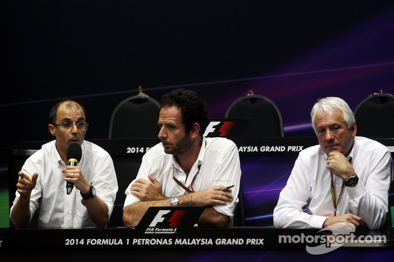 (L to R): Fabrice Lom, FIA Head of Power Train gives a briefing to the media on fuel sensors with Matteo Bonciani, FIA Media Delegate and Charlie Whiting, FIA Delegate