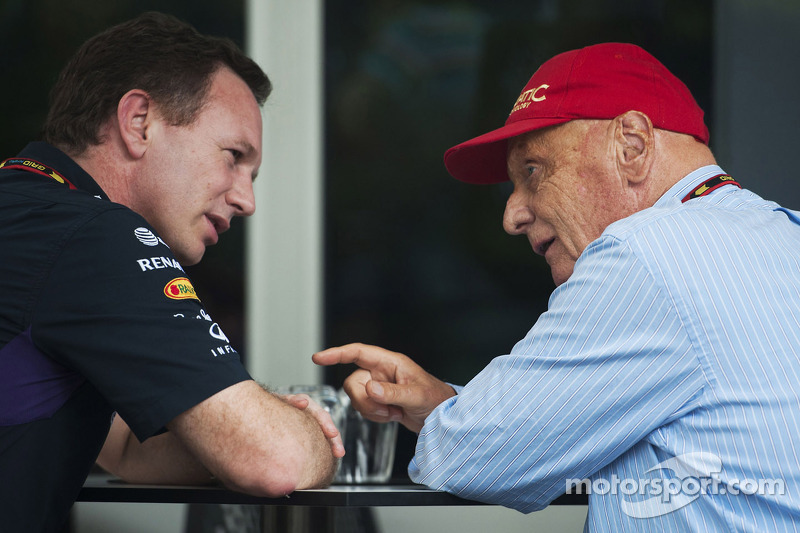 (L to R): Christian Horner, Red Bull Racing Team Principal with Niki Lauda, Mercedes Non-Executive Chairman