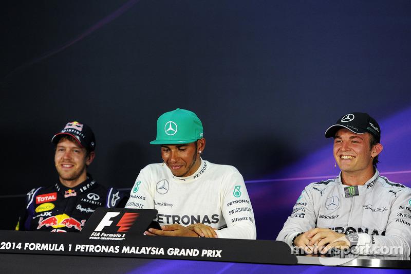 Conferenza stampa della FIA post gara, Red Bull Racing, terzo; Lewis Hamilton, Mercedes AMG F1, vincitore della gara; Nico Rosberg, Mercedes AMG F1, secondo
