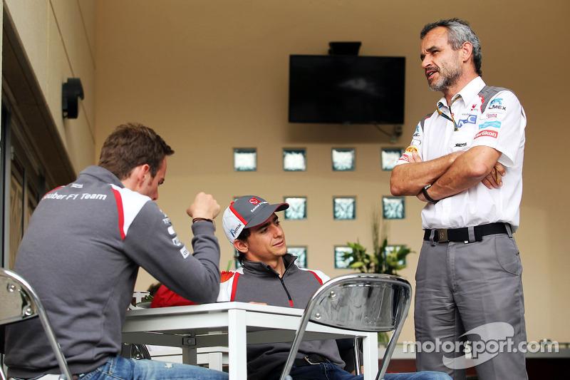 (L to R): Giedo van der Garde, Sauber Reserve Driver with Esteban Gutierrez, Sauber and Beat Zehnder