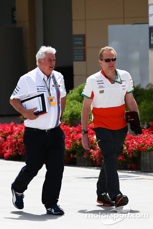 (L to R): Pat Symonds, Williams Chief Technical Officer with Andrew Green, Sahara Force India F1 Tea