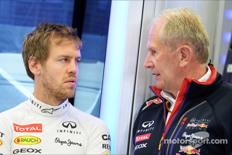 Sebastian Vettel, Red Bull Racing y Dr Helmut Marko, Red Bull Motorsport Consultor