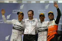 1st place Lewis Hamilton, Mercedes AMG F1, 2nd place Nico Rosberg, Mercedes AMG F1 and 3rd place Sergio Perez, Sahara Force India F1