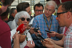 Bernie Ecclestone, with the media