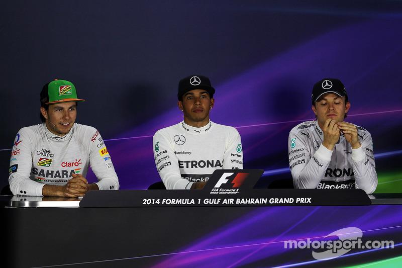 Conferenza stampa della FIA post gara, Sergio Perez, Sahara Force India F1, terzo; Lewis Hamilton, Mercedes AMG F1, vincitore della gara; Nico Rosberg, Mercedes AMG F1, secondo