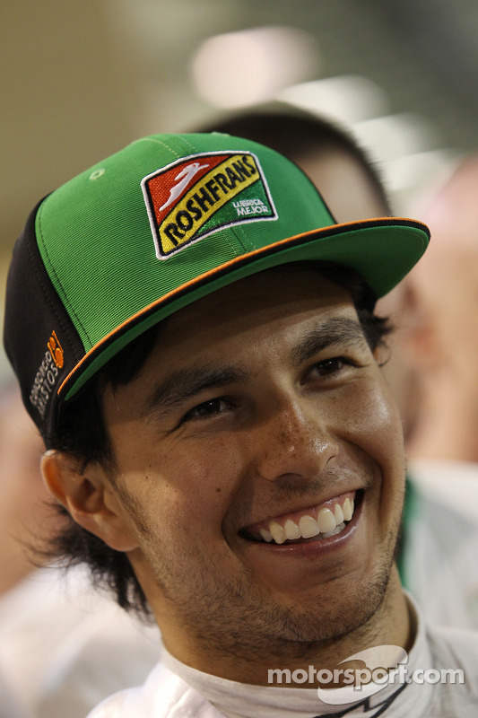 Sergio Perez, Sahara Force India F1, festeggia il terzo posto con il team