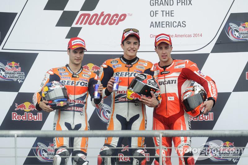 2014: 1. Marc Marquez, 2. Dani Pedrosa, 3. Andrea Dovizioso