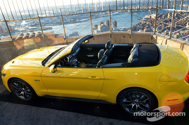 A Ford Mustang convertible built on the 86th floor of the Empire State Building to celebrate the bra