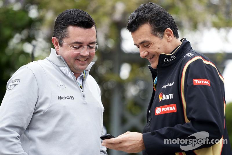Eric Boullier, McLaren, Rennleiter; Federico Gastaldi, Lotus F1, Stellvertretender Teamchef