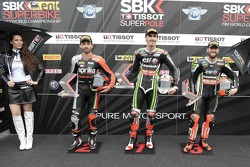 Superpole winner Loris Baz, second place Sylvain Guintoli, third place Tom Sykes