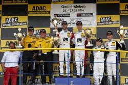 Podium, second place Christian Engelhart, Jaap van Lagen, winners Kelvin van der Linde, Rene Rast, third place Dominik Baumann, Claudia Hurtgen