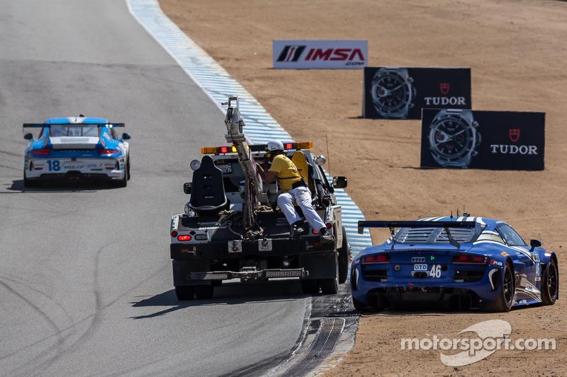 Trouble for the #46 Fall-Line Motorsports Audi R8 LMS: Charles Espenlaub, Charlie Putman