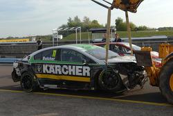 The wreck of Simon Belcher's Handy Motorsport Toyota