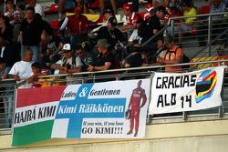 Banners for Kimi Raikkonen, Ferrari and Fernando Alonso, Ferrari