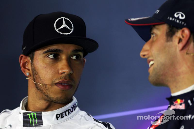 (L to R): Lewis Hamilton, Mercedes AMG F1 with Daniel Ricciardo, Red Bull Racing in the FIA Press Conference