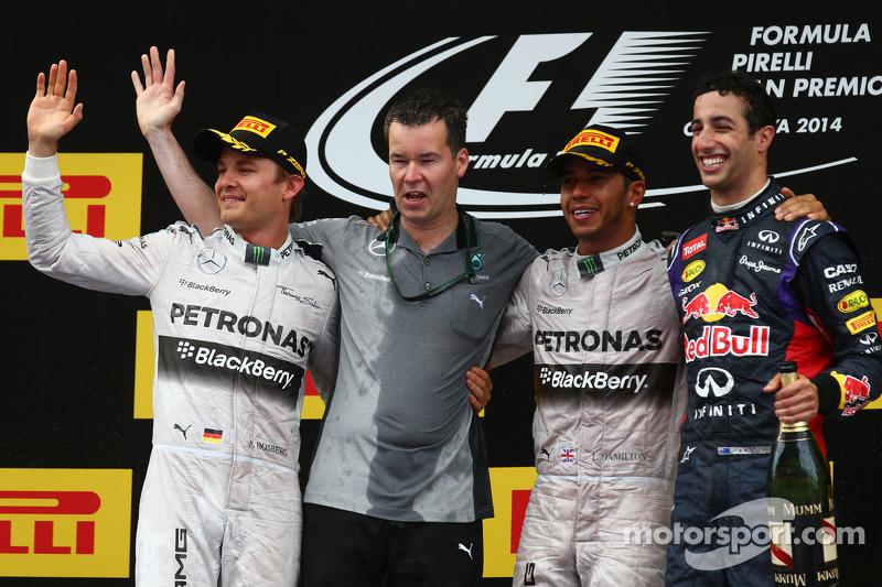 Podium: Sieger Lewis Hamilton, 2. Nico Rosberg, 3. Daniel Ricciardo