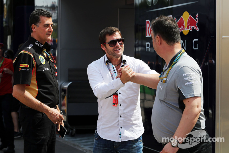 (L to R): Federico Gastaldi, Lotus F1 Team Deputy Team Principal with Steve Robertson, Driver Manager and Ron Meadows, Mercedes GP Team Manager
