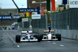 Jean Alesi Tyrrell 018 Ford laps Michele Alboreto, Arrows A11B Ford