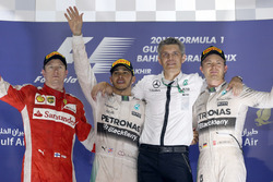 Podium: second place Kimi Raikkonen, Ferrari, Race winner Lewis Hamilton, Mercedes AMG F1, secondplace Nico Rosberg, Mercedes AMG F1