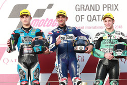Podium: second place Aron Canet, Estrella Galicia 0,0, Race winner Jorge Martin, Del Conca Gresini Racing Moto3 third place Lorenzo Dalla Porta, Leopard Racing