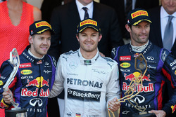 Podium: winnaar Nico Rosberg, Mercedes AMG F1, tweede Sebastian Vettel, Red Bull Racing, derde Mark Webber, Red Bull Racing op het podium