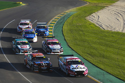 Richie Stanaway, Tickford Racing Ford, leads James Courtney, Walkinshaw Andretti United Holden, Simona de Silvestro, Nissan Motorsport Nissan, Michael Caruso, Nissan Motorsport Nissan, Todd Hazelwood, Matt Stone Racing Ford, Tim Blanchard, Brad Jones Racing Holden, and James Golding, Garry Rogers Motorsport Holden