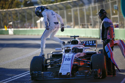 Lance Stroll, Williams FW41 Mercedes, climbs out of his car