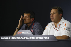 Guenther Steiner, Haas F1 Team Principal and Zak Brown, McLaren Executive Director in the Press Conference