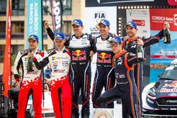 Podium: ganadores, Sébastien Ogier, Julien Ingrassia, M-Sport Ford WRT Ford Fiesta WRC, segundo, Ott Tänak, Martin Järveoja, Toyota Gazoo Racing WRT Toyota Yaris WRC, tercero, Thierry Neuville, Nicolas Gilsoul, Hyundai Motorsport Hyundai i20 Coupe WRC
