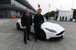 Martin Brundle, Sky TV and Simon Lazenby, Sky TV with Astom Martin DB11