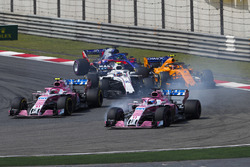 Sergio Perez, Force India VJM11 Mercedes, Esteban Ocon, Force India VJM11 Mercedes, Sergey Sirotkin, Williams FW41 Mercedes, Stoffel Vandoorne, McLaren MCL33 Renault, Brendon Hartley, Toro Rosso STR13 Honda