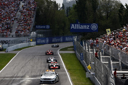 The Safety Car leads Lewis Hamilton, McLaren MP4-23, Robert Kubica, BMW Sauber F1.08, and Kimi Raikkonen, Ferrari F2008
