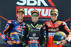 Podium: race winner Jonathan Rea, Kawasaki Racing, second place Michael van der Mark, Pata Yamaha, third place Chaz Davies, Aruba.it Racing-Ducati SBK Team