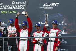 Derde plaats Andre Lotterer, Neel Jani, Bruno Senna, Rebellion Racing