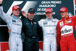 Podio: David Coulthard, McLaren, Adrian Newey, Mika Hakkinen, McLaren, Michael Schumacher, Ferrari
