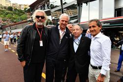 Flavio Briatore, Jerome Stoll, directeur de Renault Sport F1, Jean Todt, président de la FIA et Alain Prost, conseiller spécial de Renault