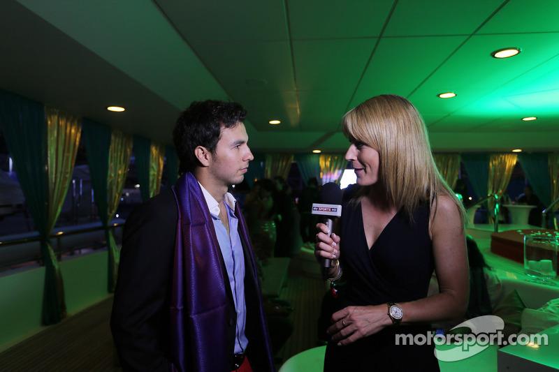 Sergio Perez, Sahara Force India F1, con Rachel Brookes, Sky Sports F1 Reporter al Signature Monaco Party