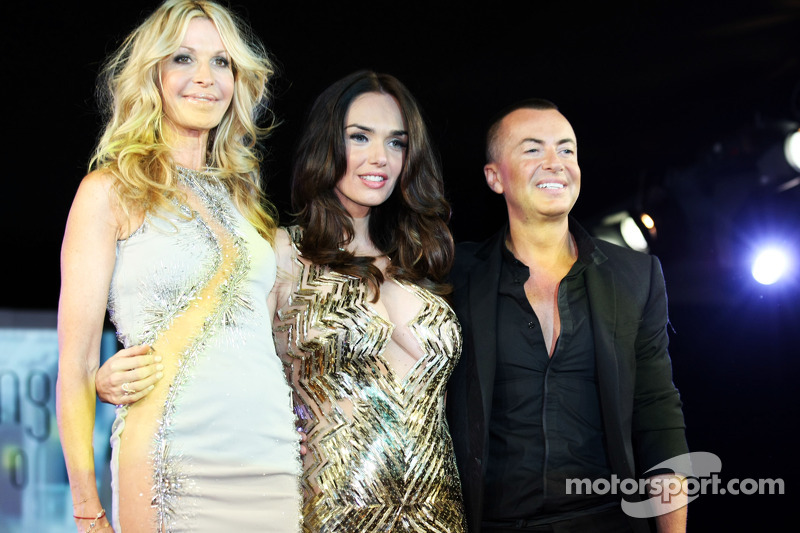 (L to R): Melissa Odabash, Swimwear Designer with Tamara Ecclestone, and Julien Macdonald, Fashion Designer at the Amber Lounge Fashion Show